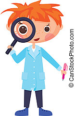 Cartoon scientist and magnifying glass. EPS10. Contains ...