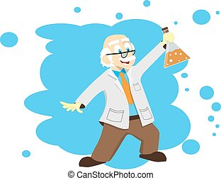 Cartoon scientist, doctor, professor with a flask. Vector illustration. Science for kids