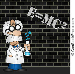 Scientist equation - Cartoon Scientist equation graffiti on...