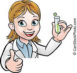 Cartoon Scientist Holding Test Tube Sign