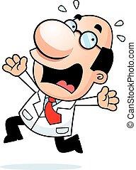 Cartoon Scientist Panicking