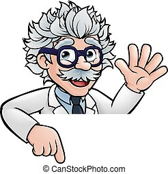 Cartoon Scientist Professor Pointing at Sign