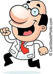 Cartoon Scientist Running