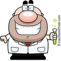 Cartoon Scientist Test Tube