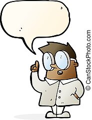 cartoon scientist with speech bubble