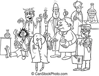 cartoon scientists characters coloring book - Black and...