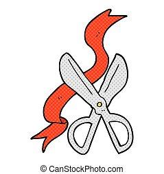 cartoon scissors cutting ribbon