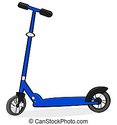 Cartoon illustration showing a simple blue scooter