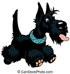 cartoon scottie - cartoon dog scottish terrier breed, image...