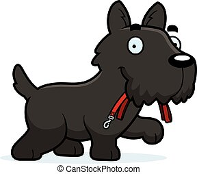 Cartoon Scottie Leash - A cartoon illustration of a Scottie...