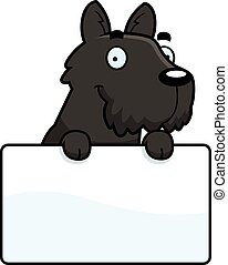 A cartoon illustration of a Scottie with a sign.