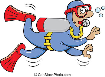 Cartoon Scuba Diver - Cartoon illustration of a scuba diver.