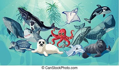 Cartoon Sea And Ocean Life Template