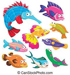 cartoon sea animal illusration collection - cartoon sea...