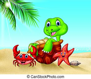 Cartoon sea animals relaxing on the beach