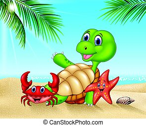 Cartoon sea animals relaxing on the beach