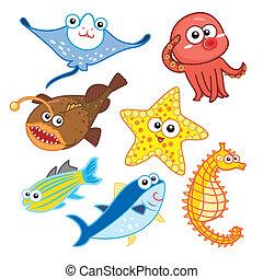 cartoon sea animals set with white background