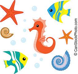 Cartoon sea life set - Set of sea life: seahorse, fish,...