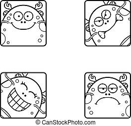 Cartoon Sea Monster Icons