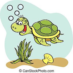 Cartoon sea turtle swimming underwa