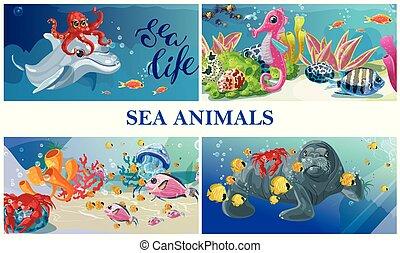 Cartoon Sea Underwater Life Concept - Cartoon sea underwater...