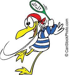 Cartoon Seagull playing tennis