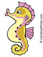 cartoon seahorse, isolated image for babies and little kids