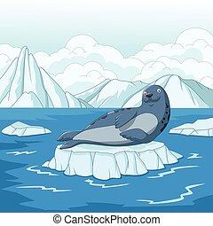 Cartoon seal on ice floe - Vector illustration of Cartoon...