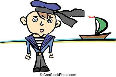 cartoon seaman in suit