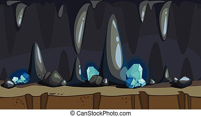 Cartoon seamless background of the dark cave