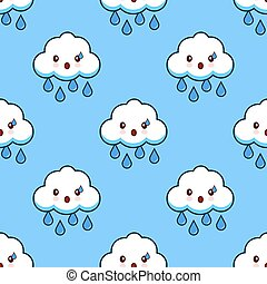 Cartoon seamless pattern cloud rainy cute kawaii character. Flat design Vector