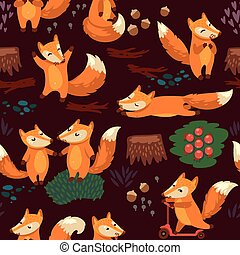 Cartoon seamless pattern with cute foxes. Vector illustration
