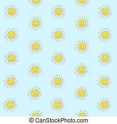 Cartoon seamless pattern with cute sun. Vector hand drawn illustration.