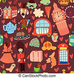 Cartoon seamless pattern with London elements. Seamless pattern can be used for wallpaper, pattern fills, web page background, surface textures.