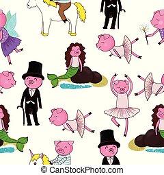 Cartoon seamless pattern with pigs