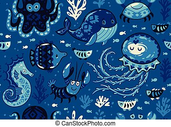 Cartoon seamless pattern with sea live. Vector llustration