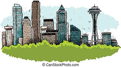 Cartoon Seattle - A cartoon of the downtown of the city of...