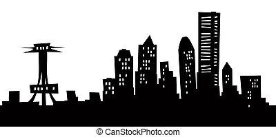 Cartoon Seattle Skyline