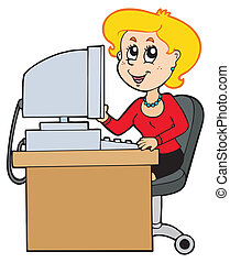 Cartoon secretary on white background - vector illustration.