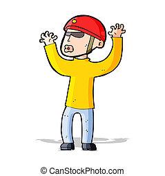 cartoon security man panicking