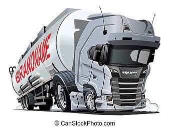 Cartoon semi tanker truck isolated on white background