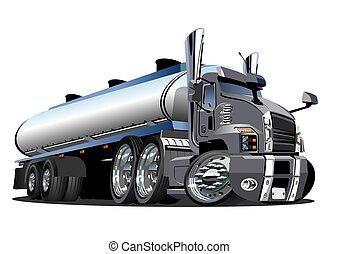 Cartoon semi tanker truck isolated on white background