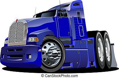 Cartoon semi truck isolated on white background. Available EPS-8 vector format separated by groups and layers for easy edit