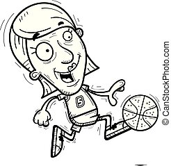 Cartoon Senior Basketball Player Running
