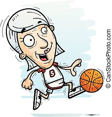 Cartoon Senior Basketball Player Running