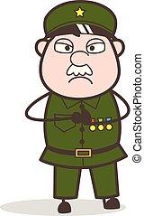 Cartoon Sergeant Anger Mood Vector Illustration