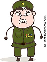 Cartoon Sergeant Angry Face Vector Illustration