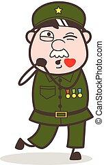 Cartoon Sergeant Blowing Kiss Vector Concept