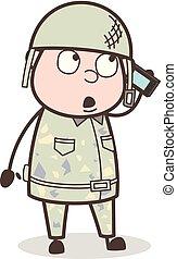 Cartoon Sergeant Calling Vector Concept