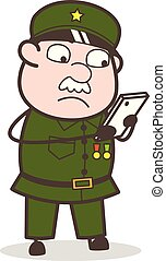 Cartoon Sergeant Chatting with Co-worker Vector Illustration